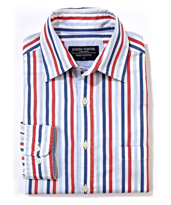 Weekend Shirt - Long Sleeve - Red/Sky/Navy Stripe