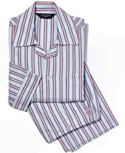 Pyjamas - Blue/Red Stripe - Brushed Cotton