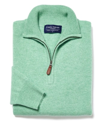 Lambswool Jumper - Half Zip - Pastel Green