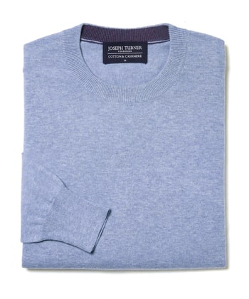 Cotton/Cashmere - Crew Neck - Sky