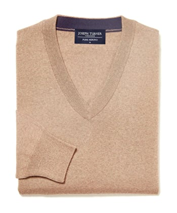 Merino Jumper - V Neck - Toast