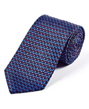 Red/Navy Geometric - Woven Silk Tie