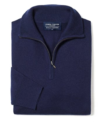 Wool/Cashmere Jumper - Half-Zip - Navy