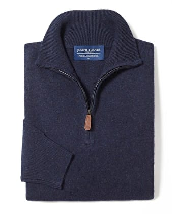 Lambswool Jumper - Half Zip - Navy