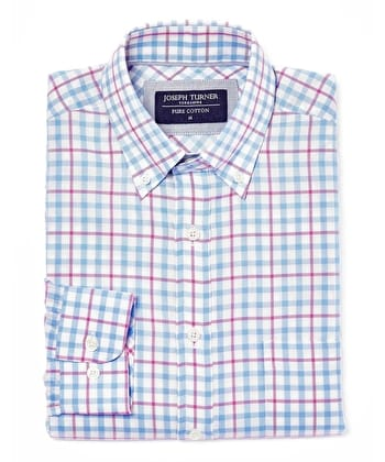 Button-Down Oxford Shirt - Sky/Magenta