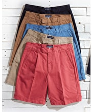 Pleated Cotton Twill Shorts