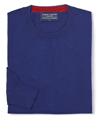 Cotton/Cashmere - Crew Neck - Dark Blue