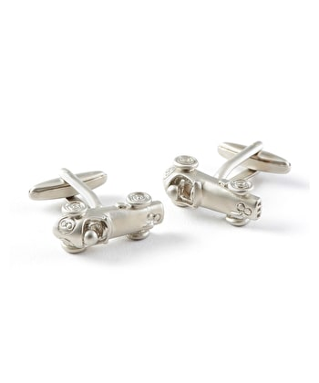 Silver Racing Car Cufflinks