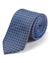 Life Rings on Navy Woven Silk Tie