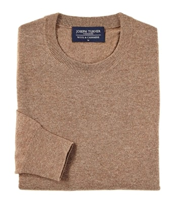 Wool/Cashmere Jumper - Crew Neck - Brown