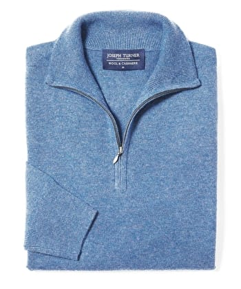 Wool/Cashmere Jumper - Half-Zip - Blue