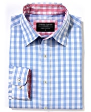 Casual Gingham Check Shirt - Sky