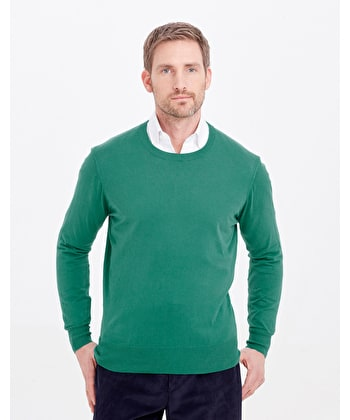 Cotton/Cashmere - Crew Neck - Green