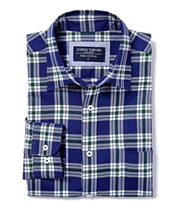 Brushed Cotton Check Shirt - Navy/Green