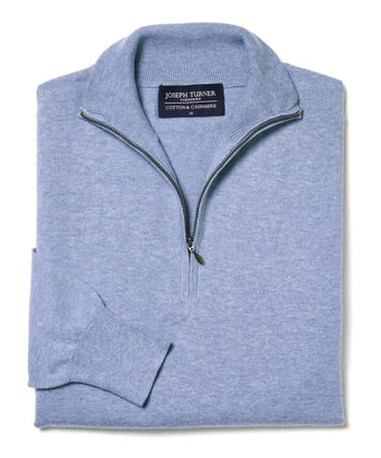 Cotton/Cashmere - Half Zip - Sky