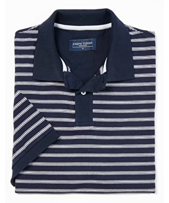 Striped Polo Shirt - Navy/White Jersey