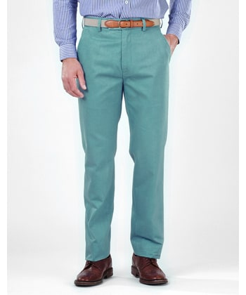 Flat Front Chinos - Sea Green