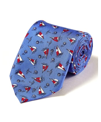 Sail Boats - Printed Silk Tie