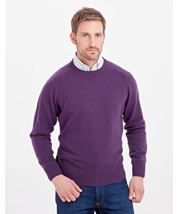 Lambswool Jumper - Crew Neck - Purple