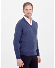 Merino Jumper - V Neck - Dark Blue