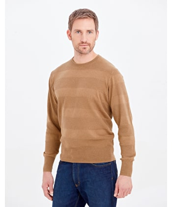 Cotton Textured Stripe Jumper - Crew Neck - Dark Tan