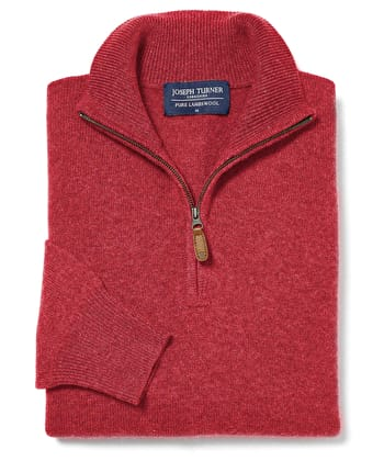 Lambswool Jumper - Half Zip - Poppy
