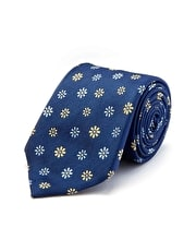 Blue/Yellow Floral - Woven Silk Tie
