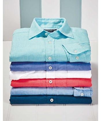Linen Shirt - Short Sleeve - Light Blue