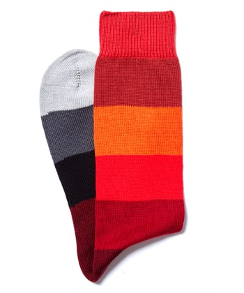Wide Stripe Cotton Socks - Red/Orange/Grey