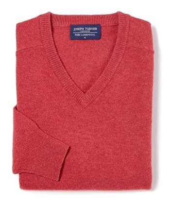 Lambswool Jumper - V Neck - Soft Red