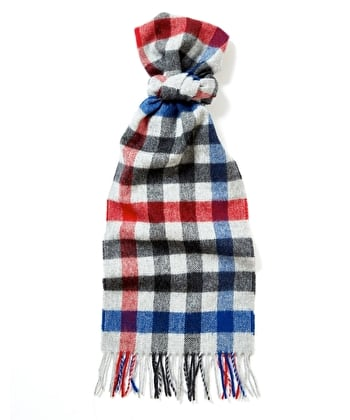 Lambswool Scarf - Grey/Blue/Red