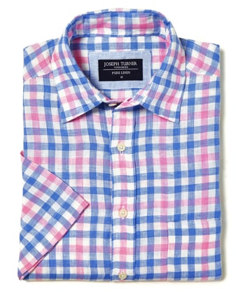 Linen Shirt - Short Sleeve - Blue/Pink