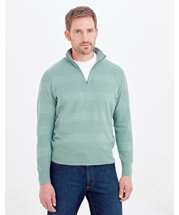 Cotton Textured Stripe Jumper - Half Zip - Sage