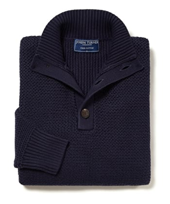 Textured Cotton Button Neck Jumper - Navy