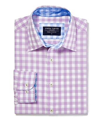 Casual Gingham Check Shirt - Lilac