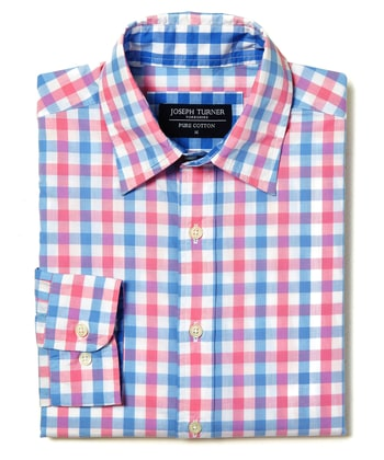 Casual Gingham Check Shirt - Pink/Blue