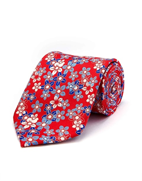 Red/Blue Floral - Printed Silk Tie