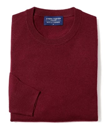 Wool/Cashmere Jumper - Crew Neck - Burgundy