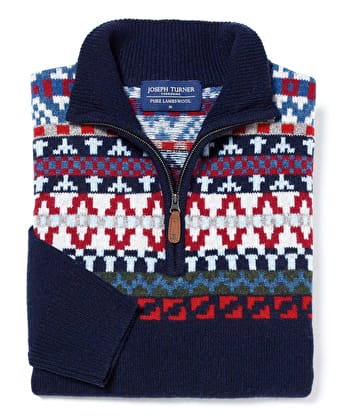 Fair Isle Half-Zip - Blue/Red