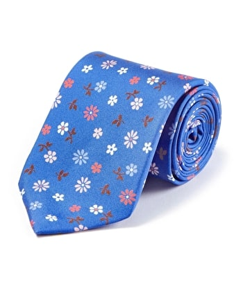Pink Flowers on Royal Printed Silk Tie