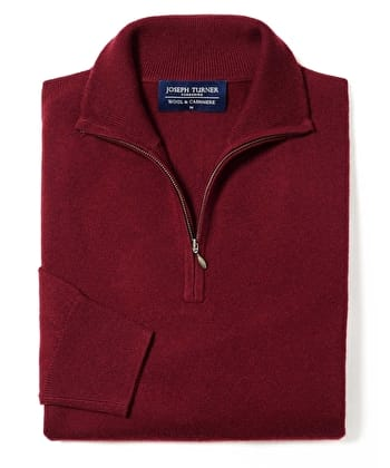 Wool/Cashmere Jumper - Half-Zip - Burgundy