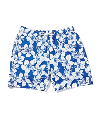 Swimming Trunks - Blue/White Hibiscus