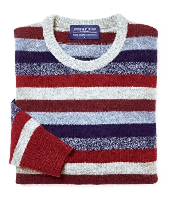Shetland Striped Crew Neck - Blue/Red