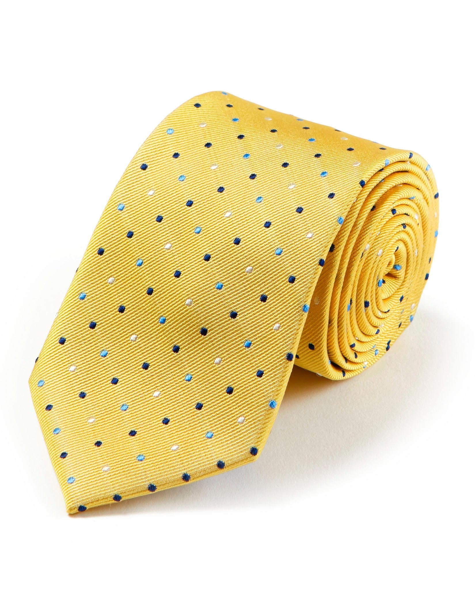 Blue Dots on Yellow Woven Silk Tie