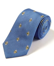 Honey Bees on Blue - Woven Silk Tie