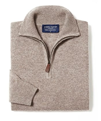 Lambswool Jumper - Half Zip - Cobble