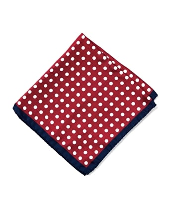 Silk Pocket Square - Red/White Polka Dots