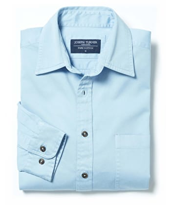 Cotton Twill Shirt - Sky
