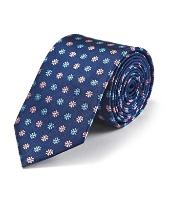 Pink/Blue Flowers on Navy Woven Silk Tie