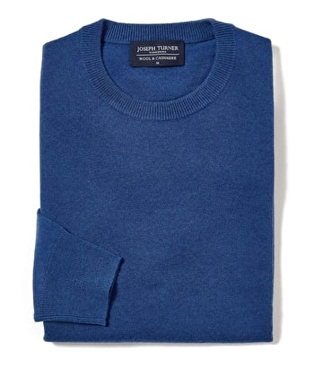 Wool/Cashmere Jumper - Crew Neck - Blue